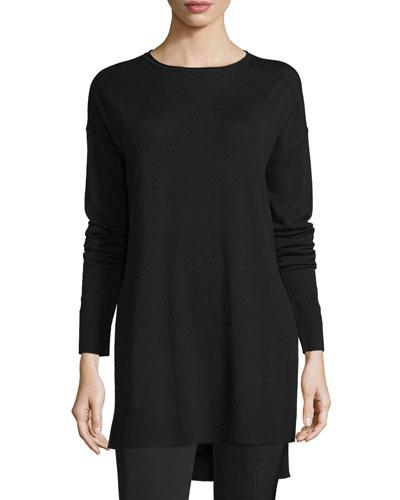 Side-Slit Merino Tunic, Black