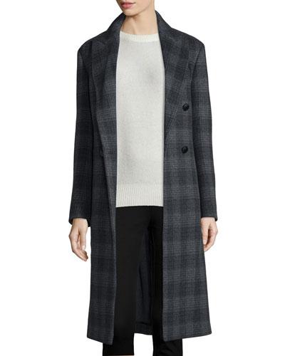 Osborne Plaid Wool-Blend Coat, Coal