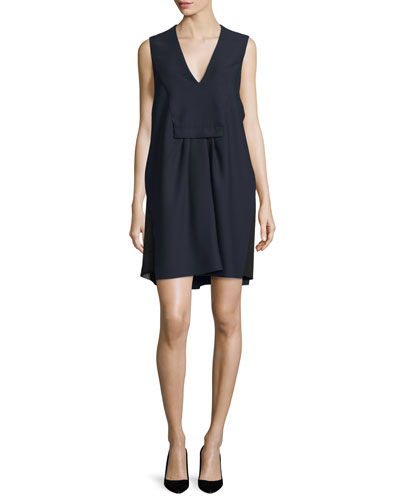 Sleeveless V-Neck Shift Dress, Navy/Black