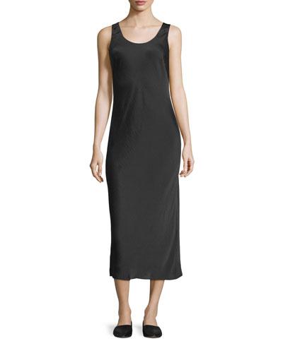 Scoop-Neck Slim Midi Tank Dress, Black