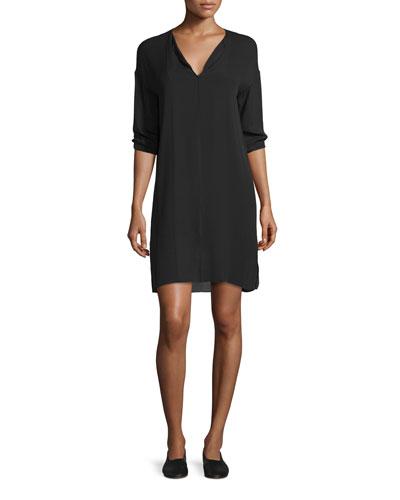 Split-Neck Pintuck Silk Dress