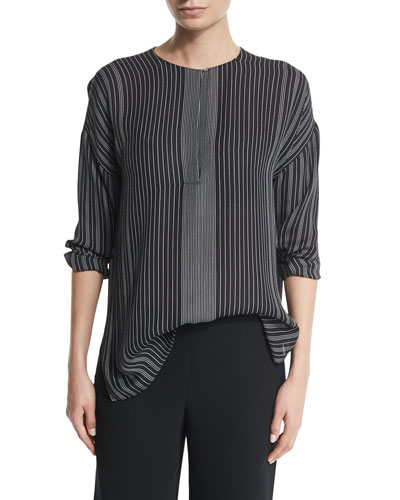 Striped Silk Long-Sleeve Top, Black/Chalk