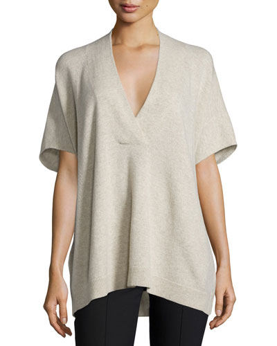 Oversized V-Neck Short-Sleeve Sweater, Light Heather Marzipan