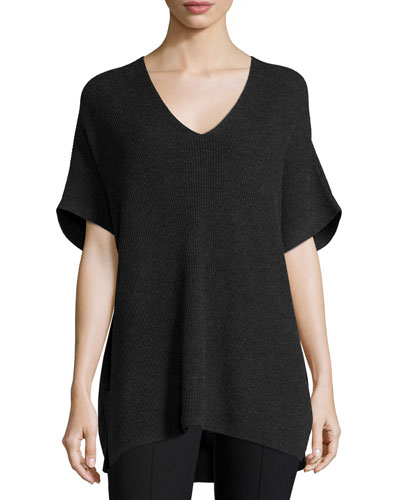 Ribbed-Knit V-Neck Tunic Sweater, Heather Carbon
