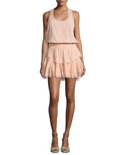 Racerback Ruffled Cotton Mini Dress