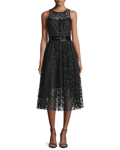 Sleeveless Polka-Dot Cocktail Dress, Black
