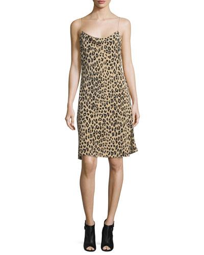 Jessa Leopard-Print Bias-Cut Slip Dress