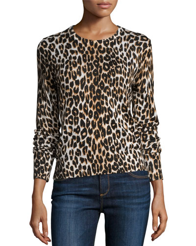 Shirley Leopard-Print Long-Sleeve Silk Top