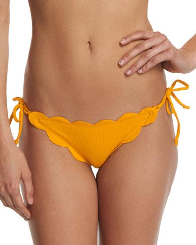 Mott Tie-Side Scalloped Swim Bikini Bottom, Papaya
