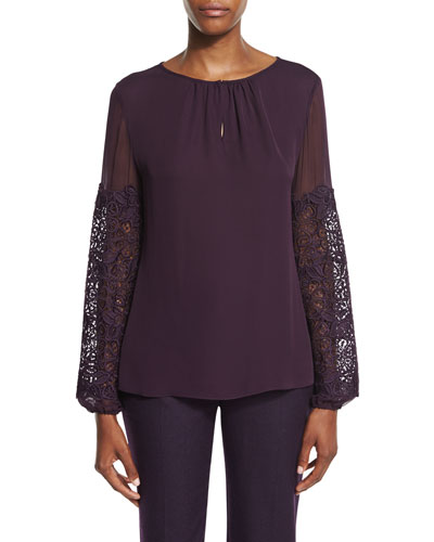 Brianna Long-Sleeve Silk Blouse w/ Lace Appliqué