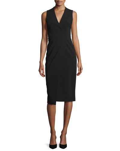 Carissa Sleeveless Faux-Wrap Dress, Black