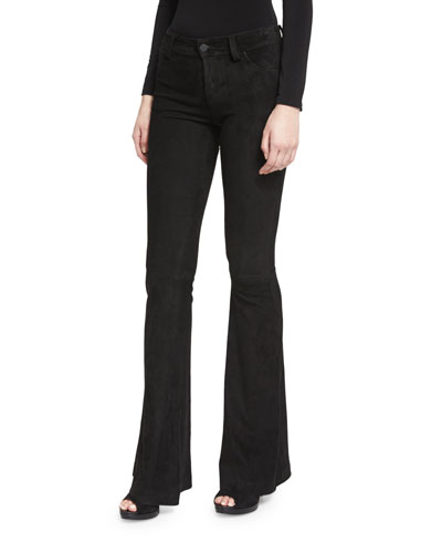 Suede Flare Pants, Black