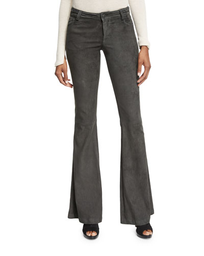 Suede Flare Pants, Charcoal