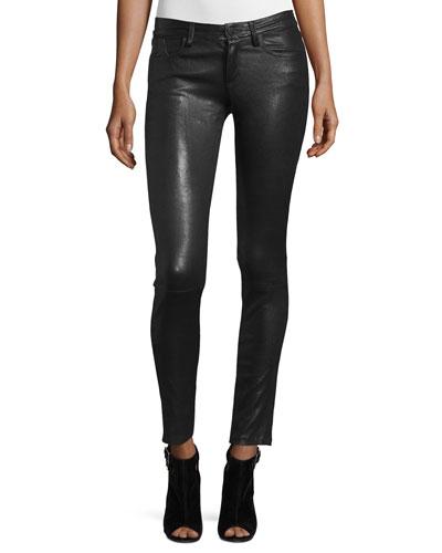 Angie 5-Pocket Leather Leggings, Black