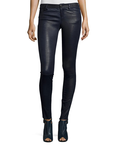 Angie 5-Pocket Leather Leggings, Navy