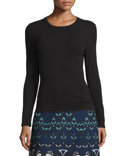 Long-Sleeve Crewneck Wool-Blend Pullover, Black