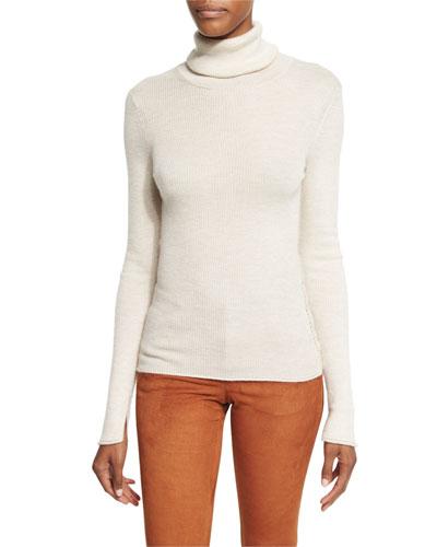 Roberta Long-Sleeve Ribbed Wool Sweater, Oatmeal Heather