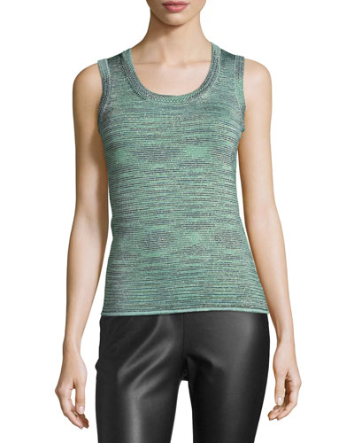 Space-Dyed Lurex® Tank, Olive