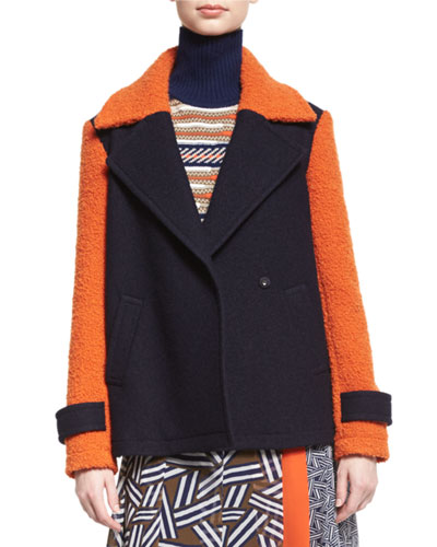 Kenzly Colorblock Textured Coat