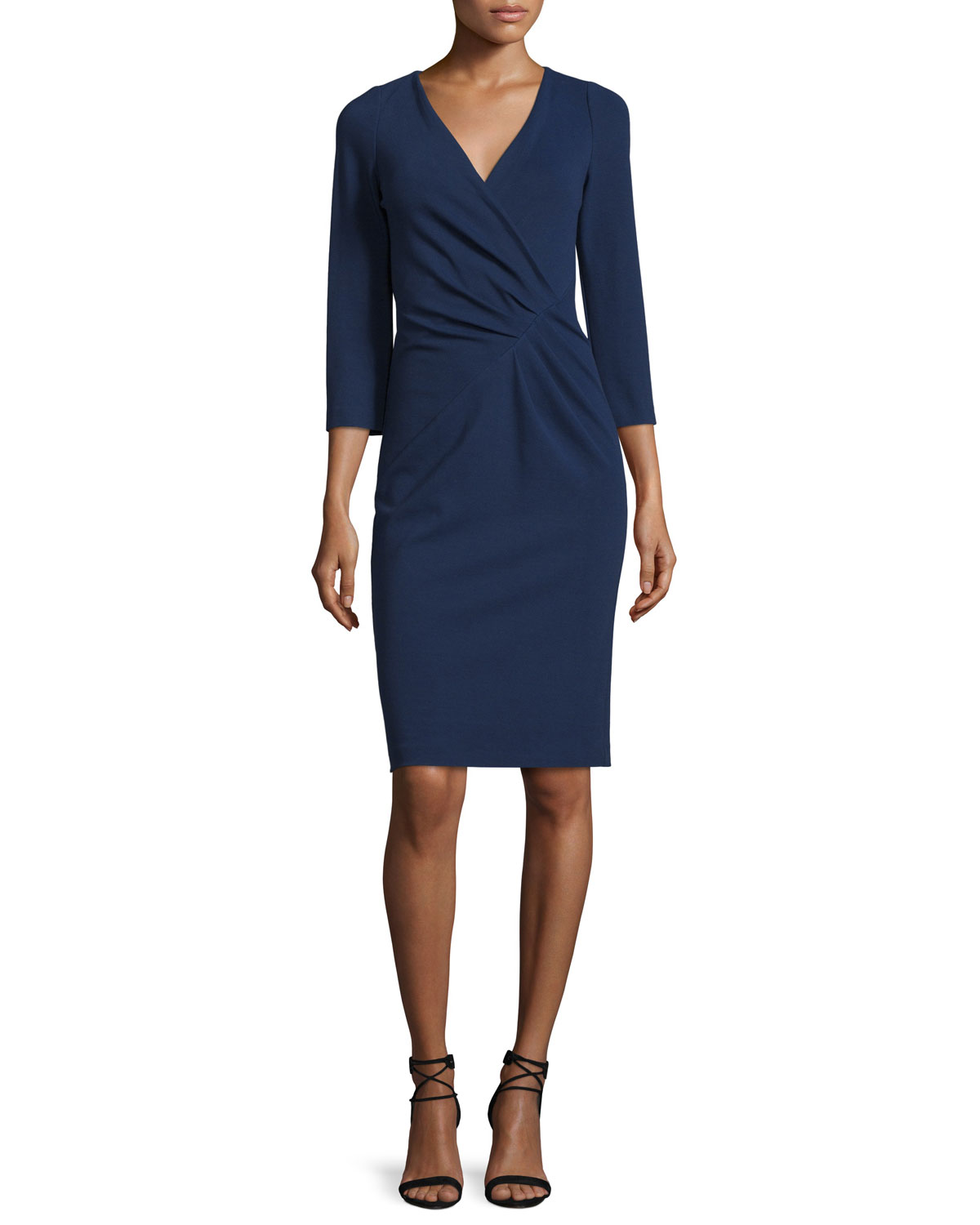 Lenora 3/4-Sleeve Surplice Dress