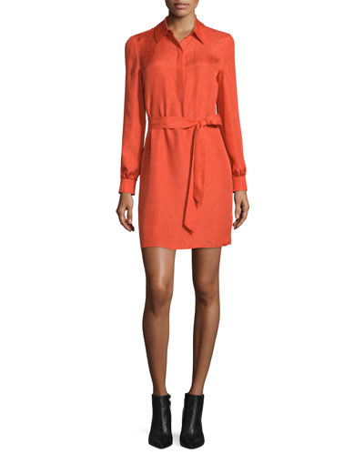 Seanna Belted Silk Shirtdress, Orange