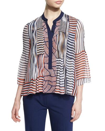 Kimberlee Silk Multipattern Top, Multicolor