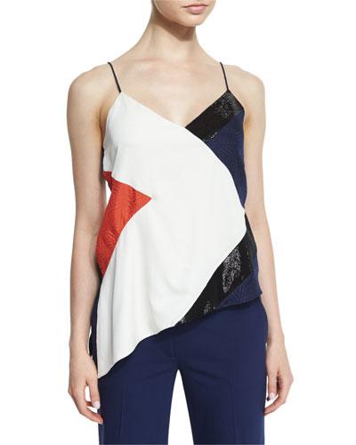 Kaelani Silk Colorblock Top, Canvas White/Midnight/Orange