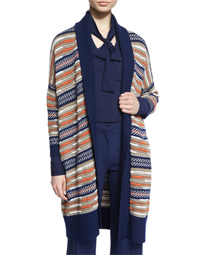 Taletha Striped Ribbed-Trim Sweater, Midnight/Orange/Khaki
