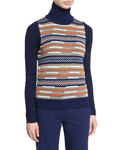 Carsyn Striped Sweater Vest, Midnight/Orange/Khaki