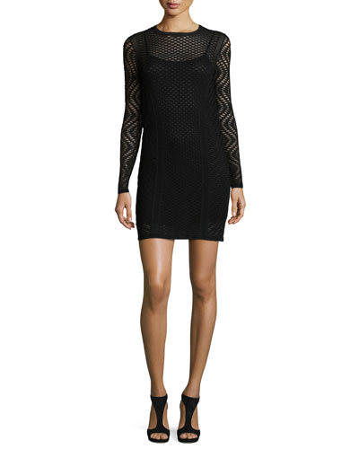 Long-Sleeve Openwork Sheath Dress, Black