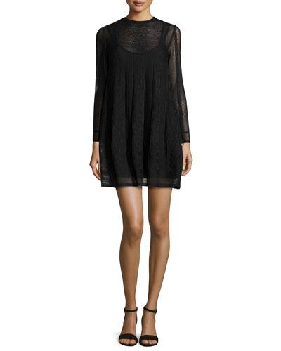 Long-Sleeve Jewel-Neck Mini Dress, Black