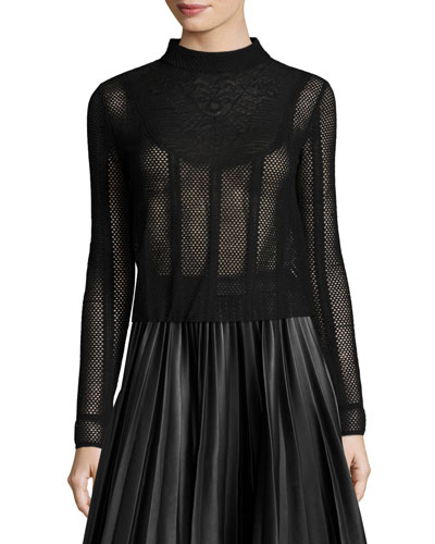 Long-Sleeve Lace-Bib Mesh Top, Black