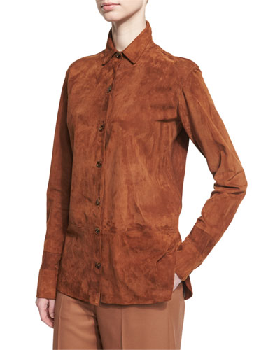 Long-Sleeve Suede Button-Front Shirt, Dark Orange