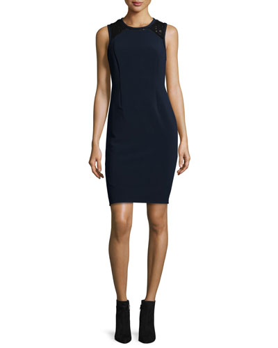 Sleeveless Lace-Trim Shift Dress, Navy