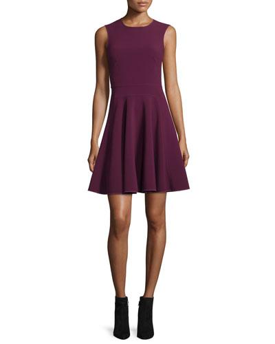 Sleeveless Suiting Circle Dress, Sugar Beet