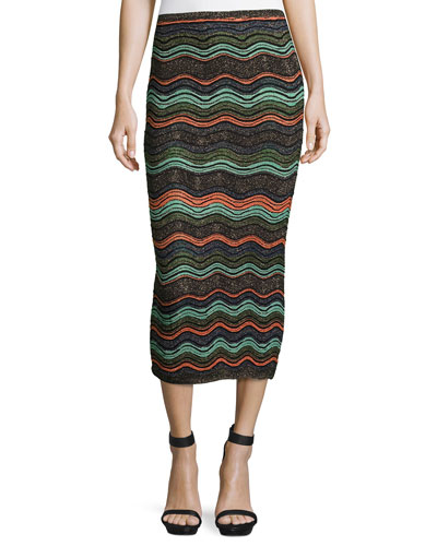 Ripple-Stitch Lurex® Convertible Tube Skirt, Black