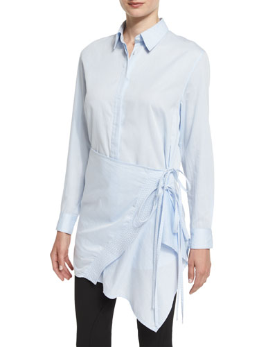 Long-Sleeve Poplin Apron Top, Light Blue