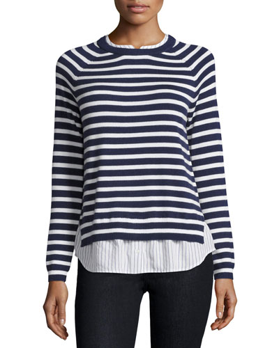 Zaan Striped Sweater-Shirt Combo Top, Dark Navy/Natural