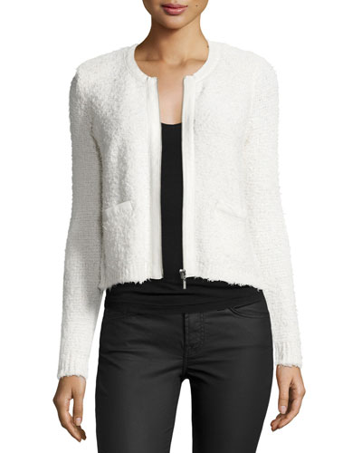 Jacolyn B Collarless Cropped Jacket, Porcelain
