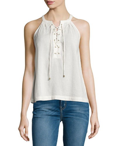 Arabeth Sleeveless Lace-Up Top, Natural