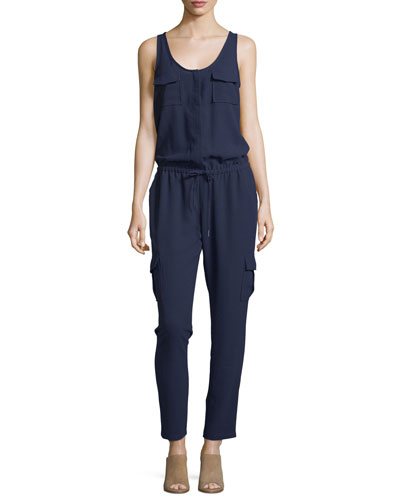Vernay Crepe Sleeveless Jumpsuit, Dark Navy