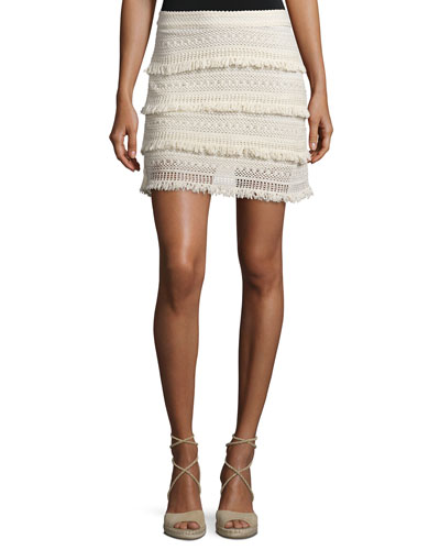 Serena Fringed Crochet Skirt, Natural