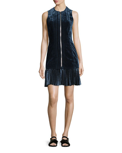Sleeveless Paneled Velvet Dress, Sapphire