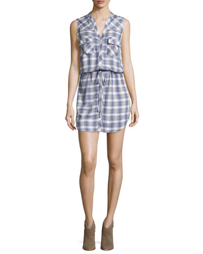 Noraha Plaid Sleeveless Shirtdress, Porcelain/Blue