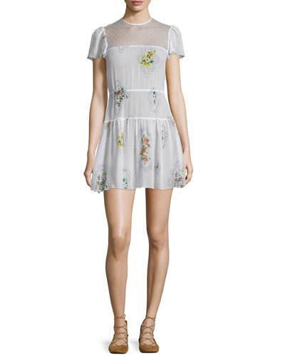 Short-Sleeve Framed-Floral Mini Dress, Latte