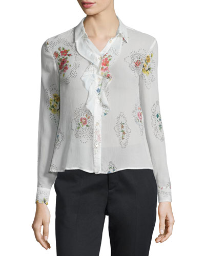 Framed Floral-Print Ruffle-Front Blouse