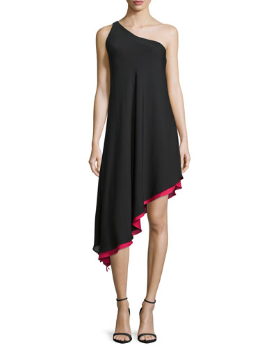 Olivia One-Shoulder Asymmetric Dress, Black/Pink