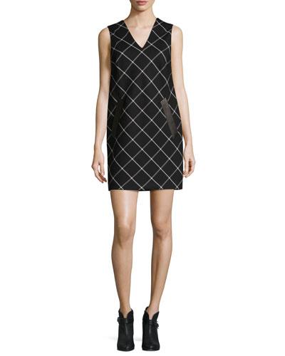 Phoebe V-Neck Windowpane Shift Dress, Black/White