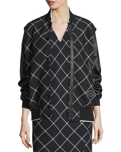 Edith Windowpane Varsity Jacket, Black/White
