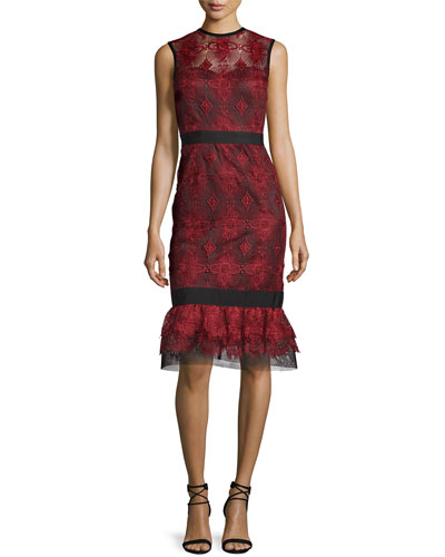 Sleeveless Lace Flounce Dress, Port Red/Black